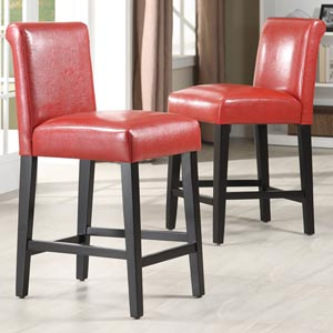 Red 24-Inch Bar Stools, Set of Two